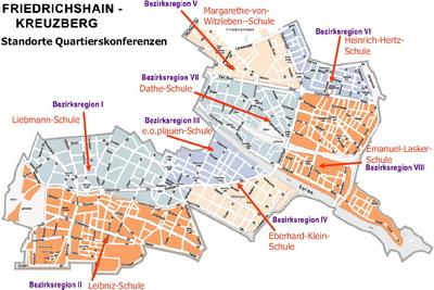 Die Regionen Friedrichshains